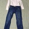 日曜はジーンズでーついでに無印のコットンシャツレポー