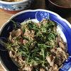 今日の食べ物 朝食に豚肉と豆苗の炒め物