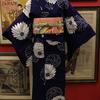 菊のアンティーク浴衣×オレンジ色糸巻き絽名古屋帯