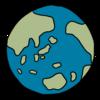 丸くてかわいい地球 のイラスト