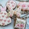 リバティ風のアイシングクッキー&リボン模様のアイシングクッキー