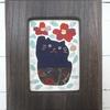布絵 猫と椿