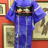 青地竹縞に雀刺繍小紋×黒繻子格子紬に雀の雪ん子刺繍開き名古屋帯