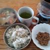 人参と椎茸の味噌汁ともち麦のご飯