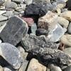 散歩。河原の石と古い社