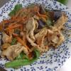 幸運な病のレシピ( 1646 )朝:鮭、ウインナ(ハリケーン風)、ナスと豚肉の味噌紫蘇炒め、味噌汁、マユのご飯