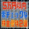 今、5万円以内で買えるおすすめ株主優待銘柄2選。