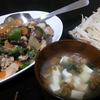 なすピーマン味噌炒め、大根サラダ、味噌汁