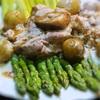 アスパラと鶏もも肉のポルチーニソースかけ