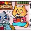 4コマ猫まんが マシュマロ焼き