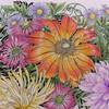 ダリアとデイジーの花束「世界一美しい花のぬり絵」葉っぱも丁寧に塗ってみた