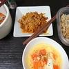 豚大根、白菜漬け、トマト卵のスープ