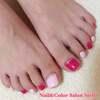 初めてのフットジェルは大好きなピンクで♡バービーピンク&ベビーピンクのワンカラーネイル☆