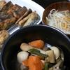 さんまの竜田揚げ、根菜の煮物、味噌汁~お昼ご飯はお好み焼きもどき
