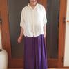 メイドインジャパンの職人技を着るリネンシャツ|大人可愛い七分袖と小さな襟で着痩せコーデ