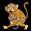 猿の親子 のイラスト