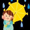傘をさしたがる3歳娘と濡れる母