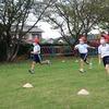 すこやかタイムで多様な運動・合同体育に向けてリレー練習・1東アサガオかたづけ