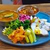 東新宿の「サンラサー」ですだち香る冷製ナスのサンバル、オギクボのオモイデ〜妄想スペーストルネードオガワ、鶏ハム、レモンとセロリのアチャール。