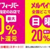 <2020年3月>メルペイが大型キャンペーン!日曜日最大20%還元、特定店なら最大50%還元