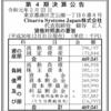 Cinarra Systems Japan株式会社 第4期決算公告