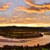 新潟の夕焼けの眺めー小千谷市 おぢやクラインガルデンふれあいの里