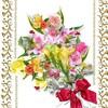 プレゼントで貰った花束の花々で