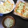 キャベツ中華炒め、厚揚げピザ、味噌汁