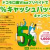 ドコモ口座Visaプリペイドで5%キャッシュバックキャンペーン!定額パックプランに新規登録で1,000円プレゼントも
