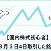 【国内株式初心者】2021年8月3日4日取引した銘柄の記録
