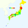 Rate of Deaths from Bladder Cancer by Prefecture in Japan, 2015