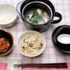 朝食:レンジで土鍋使って、シジミ汁をコンソメで