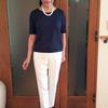 ドゥクラッセTシャツのネック・色・袖丈はどれにする?|深ジュエルネック5分袖ミッドナイトブルーのコーデ
