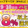 ハピタスで「ハピタスデー」開催中!すべての掲載広告が8%以上還元!3日間限定イベント!