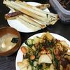 アスパラ春巻、ほうれん草じゃがいも炒め、味噌汁