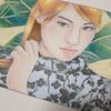 池永康晟の美人画ぬりえ「撫でる・恵美子」夏のイメージで塗ってみた