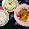 今日のごはん:エスニックガーデンクッキングペーストレッドカレー味で鶏肉と野菜炒め、鳥の巣サラダ