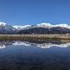 【長野県大町市】田んぼの水たまりに映る、北アルプスの水鏡。