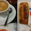 サンマルクカフェ「日替り焼き立てパンモーニングセット(木曜日)」「ホワイトチョコクロ」