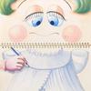水彩画「すけっちちゃん〜およめさんの服を描きました」