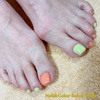 ハンド&フット同日施術にて♡トレンドカラーのピスタチオグリーン&コーラルオレンジの春ペディ☆