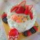 親子で1歳BD(v^ー°)(~▽~@)♪♪♪  苺のデコレーションケーキ♪