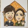 手描きで色紙サイズのカップルの似顔絵