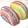 エスニック風包み編みのポーチ