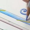【動画投稿しました】水彩色鉛筆で黄緑色から紫色へグラデーション