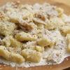 サツマイモのニョッキ、キノコとクルミのクリームソースのレシピ