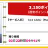 【ハピタス】REX CARDが期間限定3,150pt(3,150円)! 年会費無料! ショッピング条件なし!