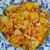 白菜と焼豆腐と卵とベーコンのピリ辛炒め