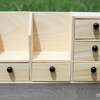 木のミニチュア家具【ディスプレイスペース×2、小物入れ×5】