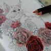 ペリシア色鉛筆&ブレンダーペンシルで深紅のバラを塗ってみた☆おとニャーの塗り絵ノートより